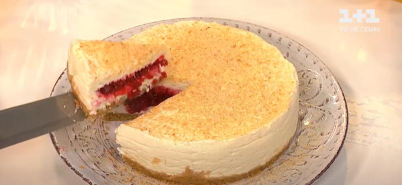 рецепт пирога из малины, творога и печенья