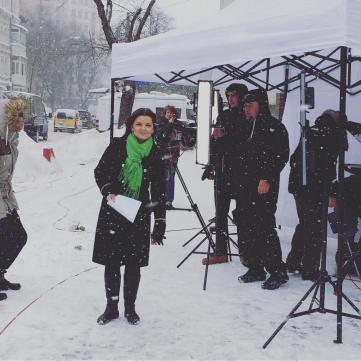 Марічка Падалко провела «весняний» випуск ТСН із засніженої вулиці Києва