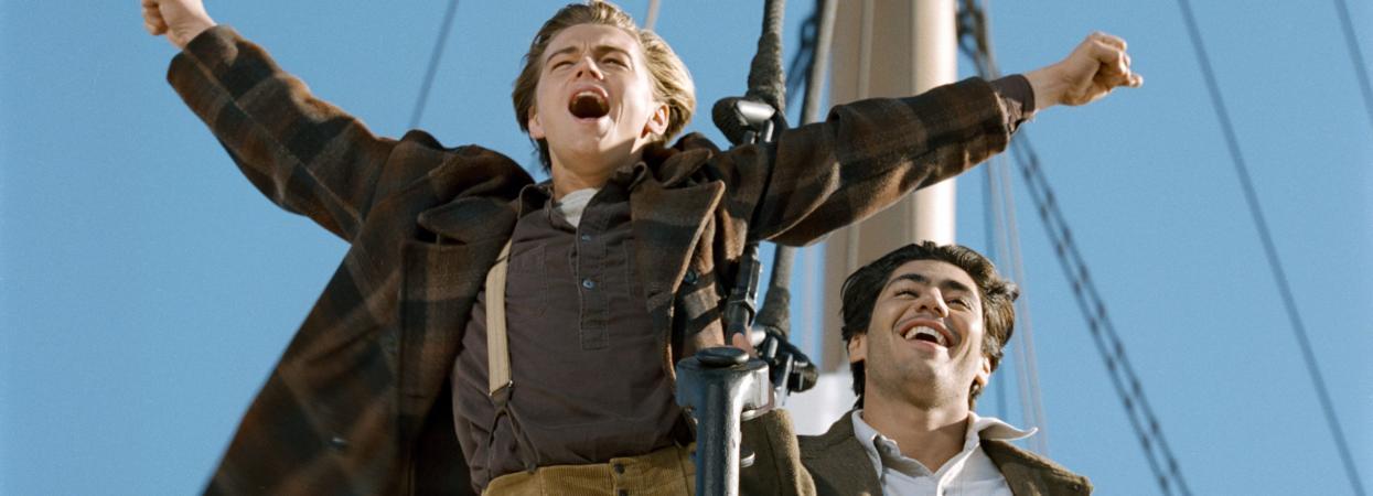 на фото Леонардо Дікапріо у фільмі Титанік