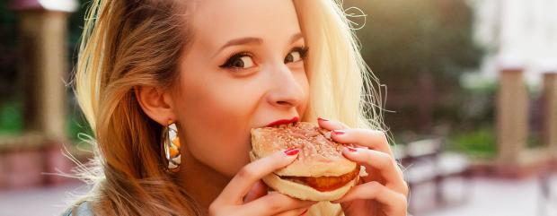 дівчина, їжа