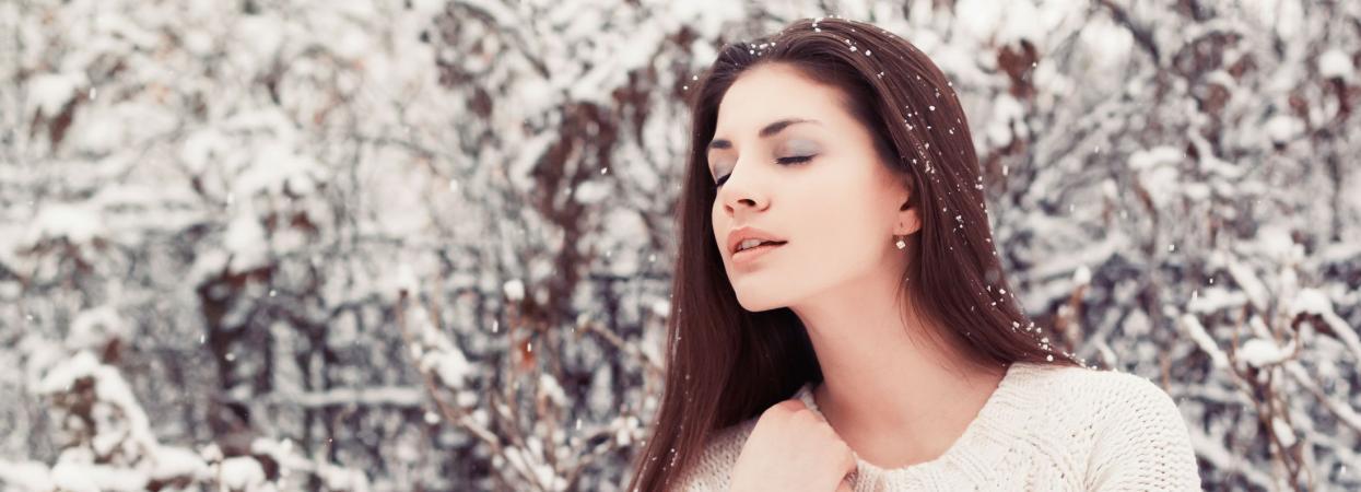девушка, зимнее фото