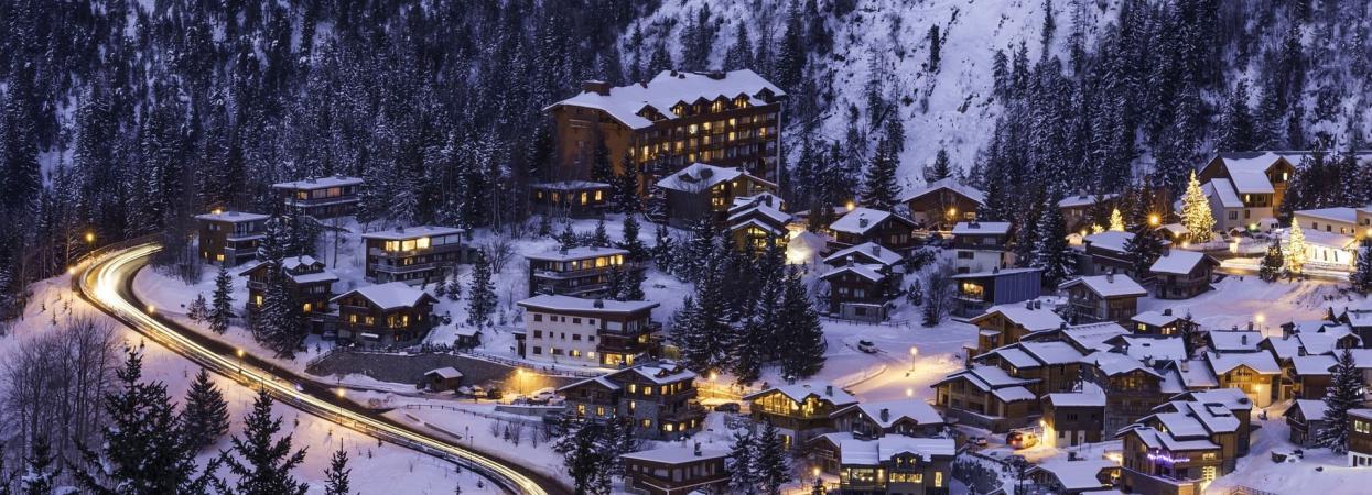 Зима, горы, вечер, огни, куршавель, буковель