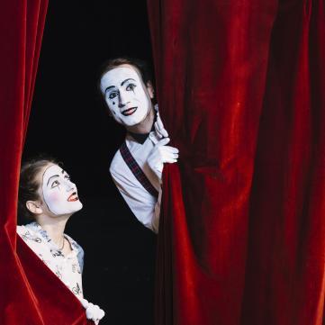 театр, штора, завіса, куліси, пантомім